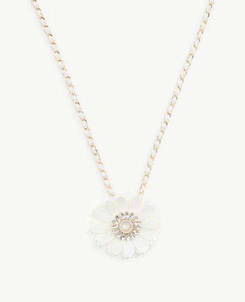 Ann Taylor Floral Gem Pendant Necklace