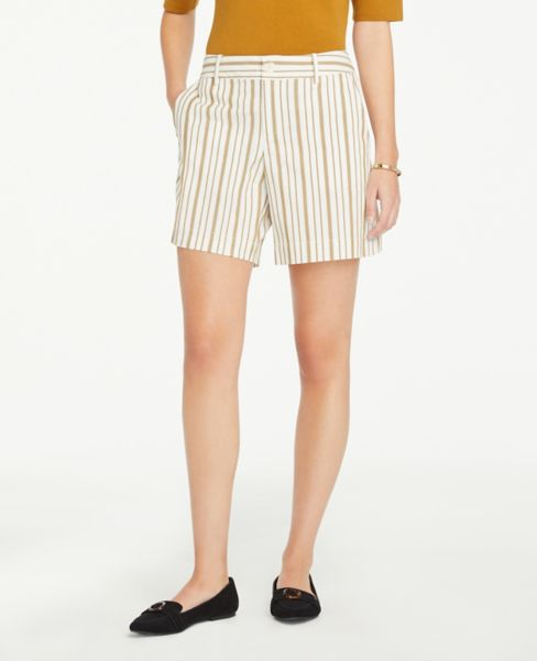 Ann Taylor Striped Shorts with 6 Inch Inseam