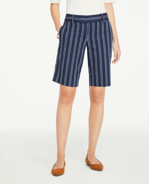 Ann Taylor Striped Shorts with 10 Inch Inseam