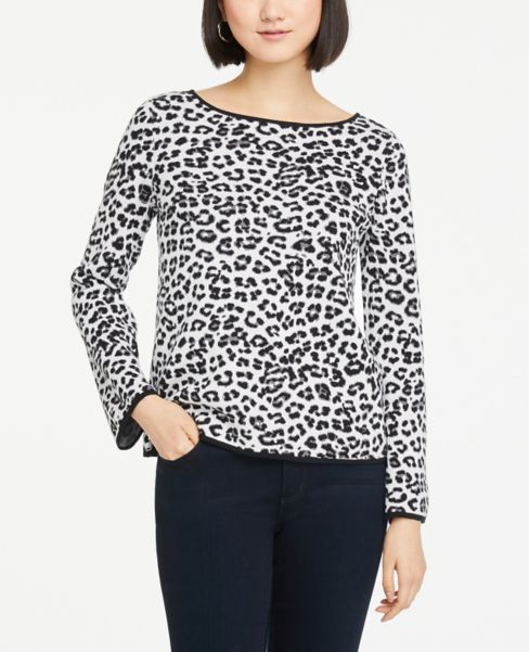 Ann Taylor Leopard Print Flare Sleeve Sweater