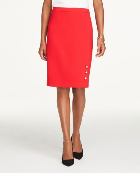 Ann Taylor Petite Pearlized Button Pencil Skirt