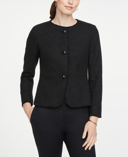 Ann Taylor Jeweled Button Tweed Jacket