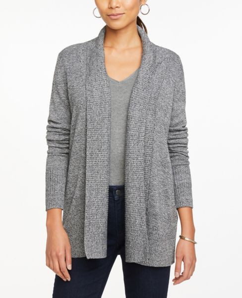 Ann Taylor Heathered Ribbed Open Cardigan