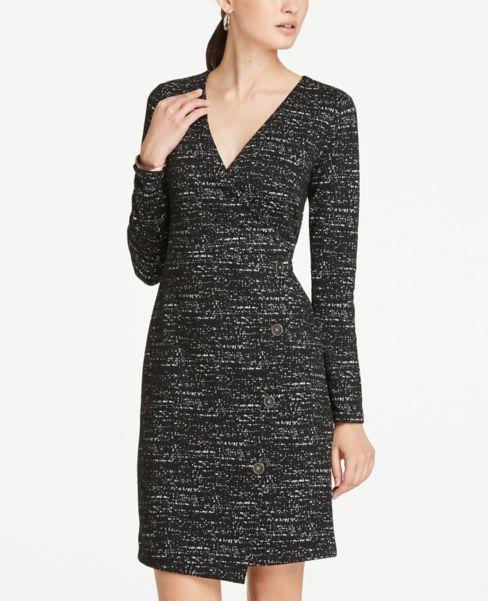 Ann Taylor Petite Jacquard Button Trim Wrap Dress