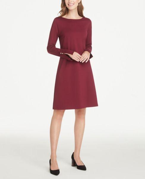 Ann Taylor Petite Button Cuff Ponte Shift Dress