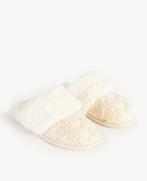 Ann Taylor Cable Faux Fur Slippers