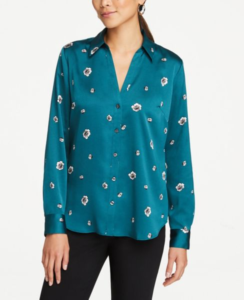 Ann Taylor Floral Slim Button Down Shirt