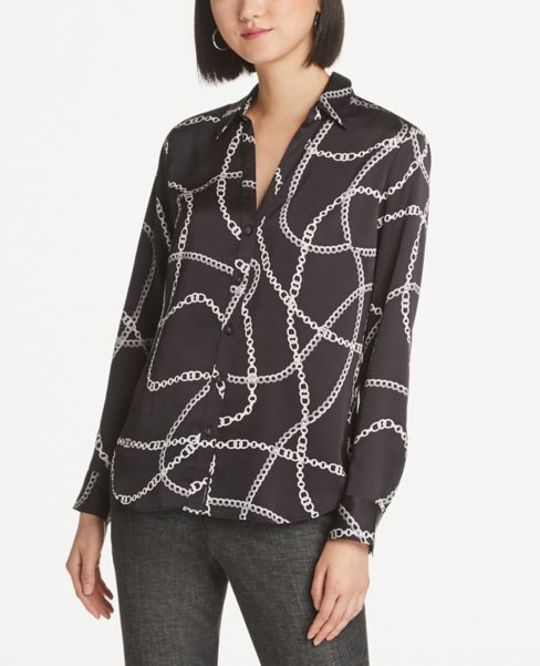 Ann Taylor Chain Print Slim Button Down Shirt