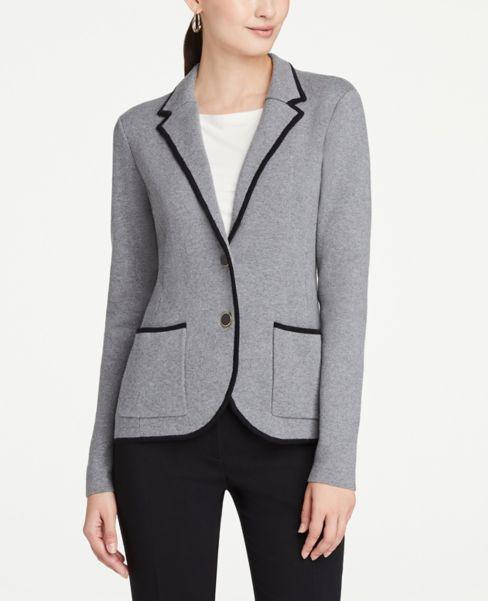 Ann Taylor Petite Tipped Sweater Blazer