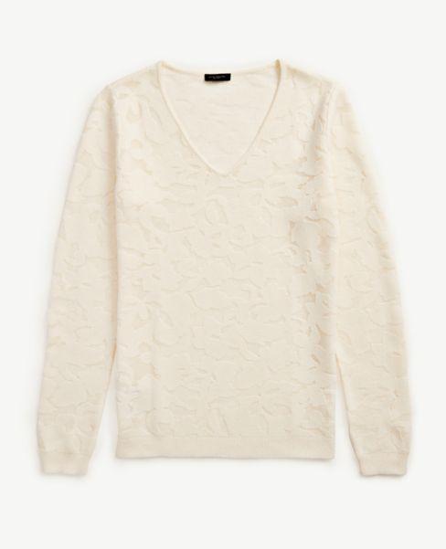 Ann Taylor Floral V-Neck Sweater