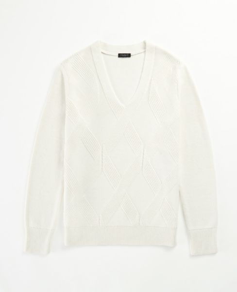 Ann Taylor Geo Textured V-Neck Sweater