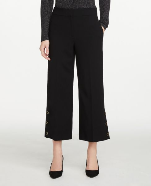 Ann Taylor Petite Button Trim Wide Leg Crop Pants