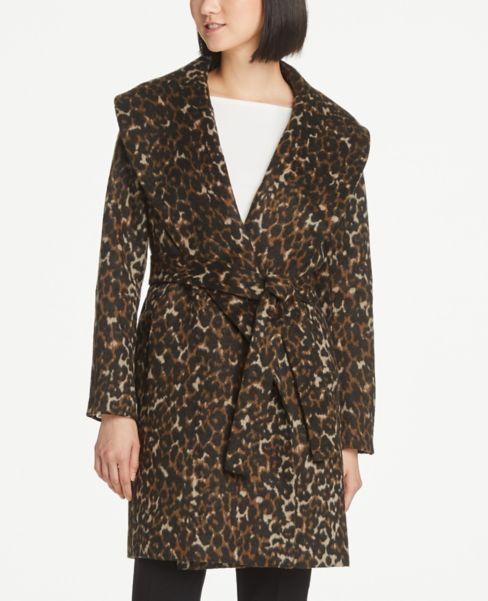 Ann Taylor Leopard Print Wrap Coat