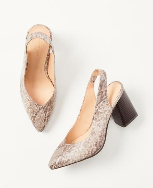 Ann Taylor Snake Print Slingback Block Heels
