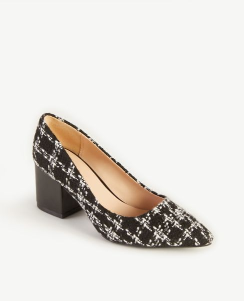 Ann Taylor Tweed Block Heel Pumps