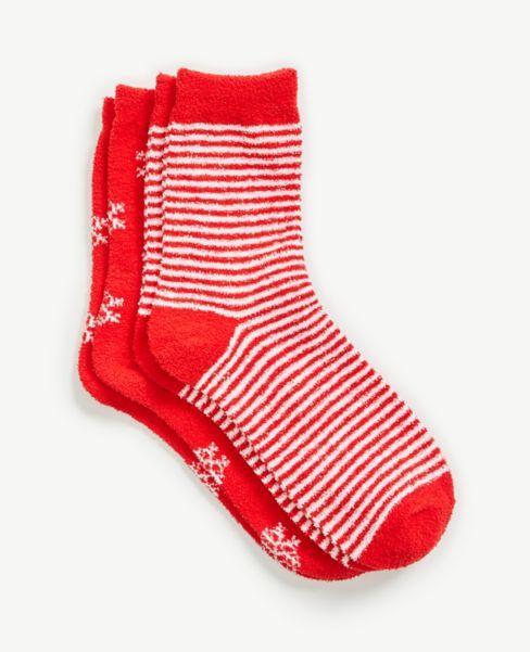 Ann Taylor Snowflake & Stripe Cozy Crew Sock Set