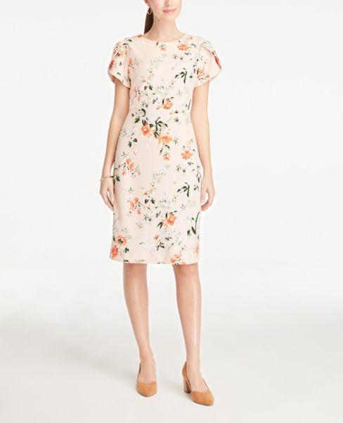 Ann Taylor Floral Puff Sleeve Sheath Dress