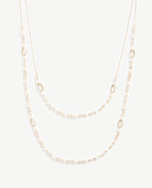 Ann Taylor Beaded Tiered Layering Necklace