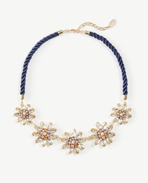 Ann Taylor Floral Corded Statement Necklace