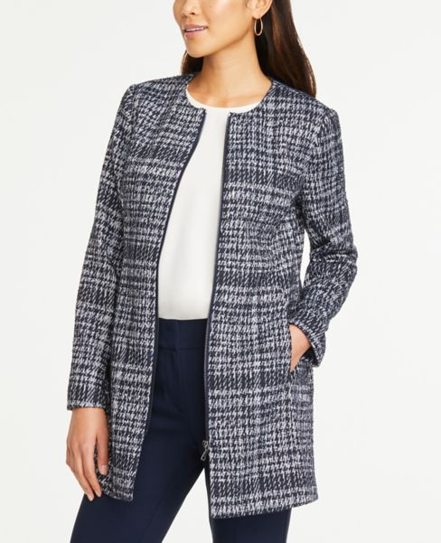 Ann Taylor Plaid Zip Jacket