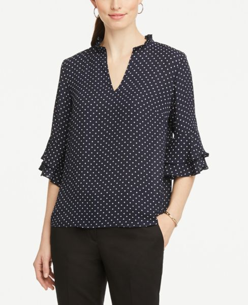 Ann Taylor Dotted Tiered Sleeve Blouse