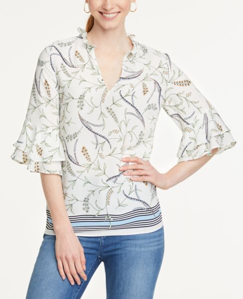 Ann Taylor Border Floral Tiered Sleeve Blouse