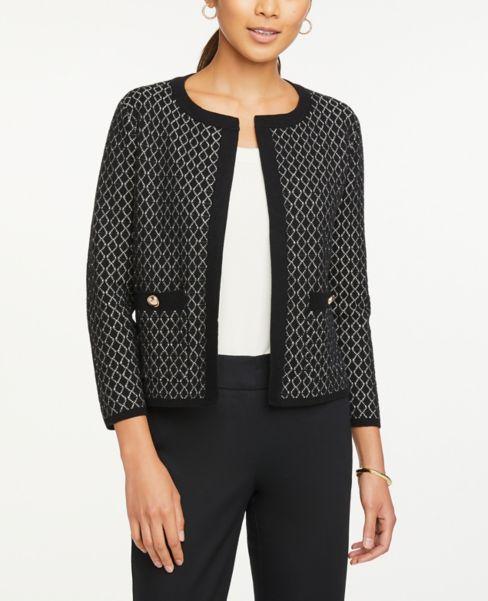 Ann Taylor Petite Geo Pocket Sweater Jacket