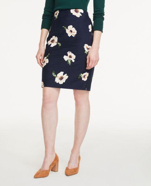 Ann Taylor Floral Textured Pencil Skirt