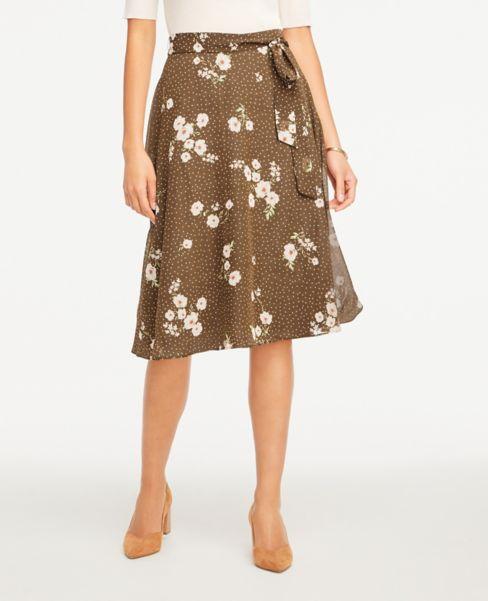 Ann Taylor Floral Tie Waist Full Skirt