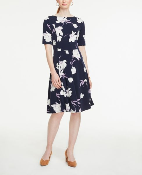 Ann Taylor Floral Elbow Sleeve Flare Dress