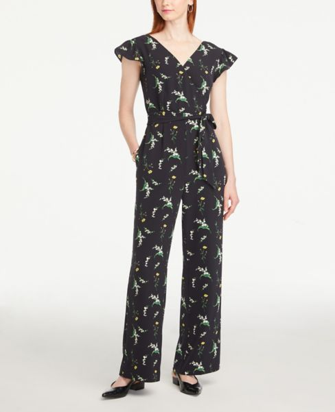 Ann Taylor Floral Ruffle Sleeve Jumpsuit