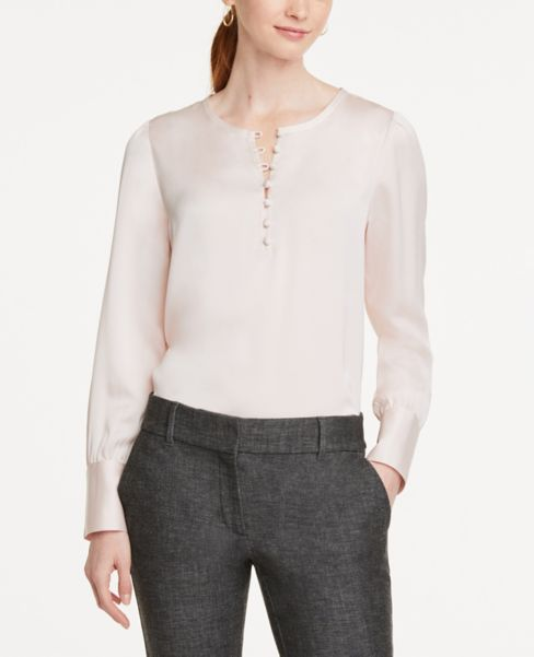 Ann Taylor Covered Button Blouse