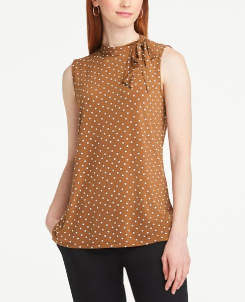 Ann Taylor Dotted Tie Neck Shell