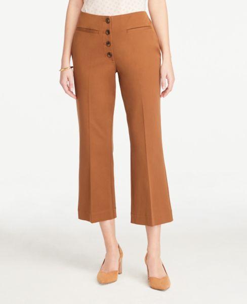 Ann Taylor Button Front Slim Wide-Leg Pants