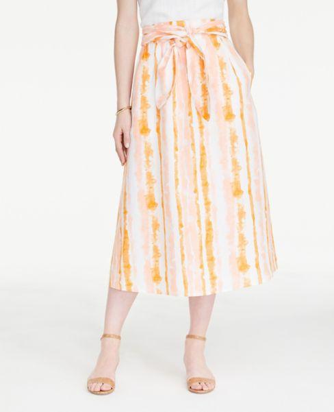 Ann Taylor Striped Linen Blend Tie Waist Midi Skirt