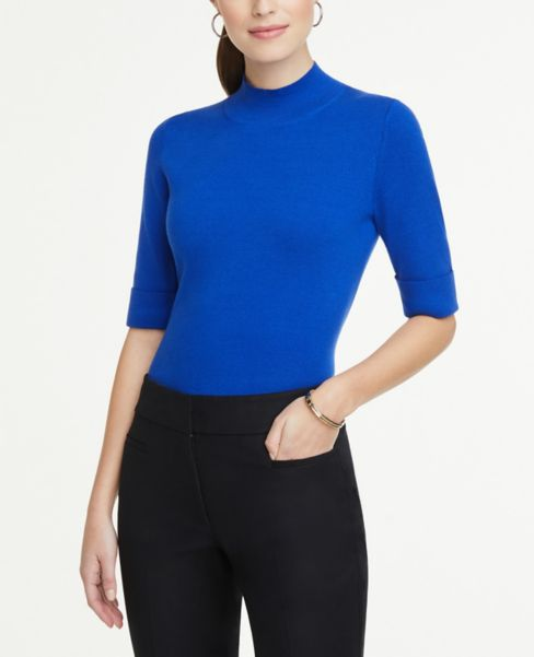 Ann Taylor Cuffed Mock Neck Sweater