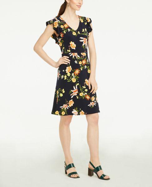 Ann Taylor Floral Ruffle Sleeve Flare Dress
