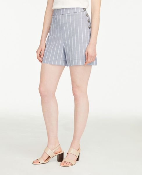 Ann Taylor Striped Side Button Drapey Shorts