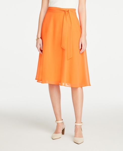 Ann Taylor Tie Waist Full Skirt