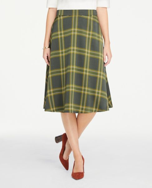 Ann Taylor Plaid Midi Skirt