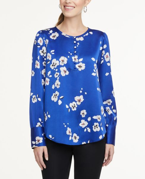 Ann Taylor Floral Covered Button Blouse