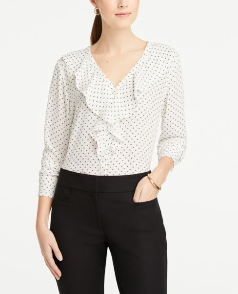 Ann Taylor Dotted Ruffle V-Neck Blouse