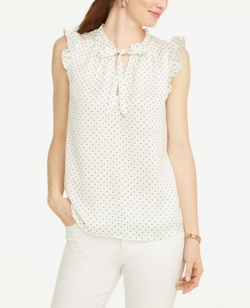 Ann Taylor Dotted Ruffle Tie Neck Blouse