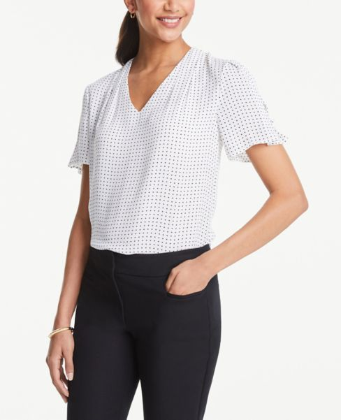 Ann Taylor Dotted Button Sleeve V-Neck Top