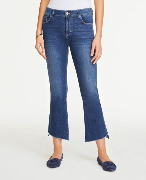 Ann Taylor Denim Flare Crop Pants