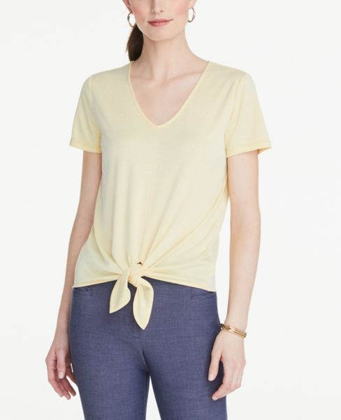 Ann Taylor Striped Tie Front V-Neck Tee