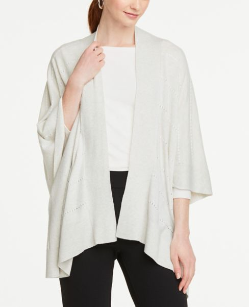 Ann Taylor Textured Open Poncho Sweater
