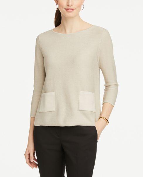 Ann Taylor Faux Suede Pocket Sweater