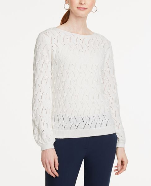 Ann Taylor Bobble Pointelle Sweater