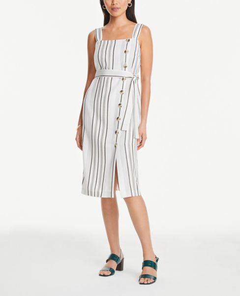 Ann Taylor Striped Strappy Side Button Dress
